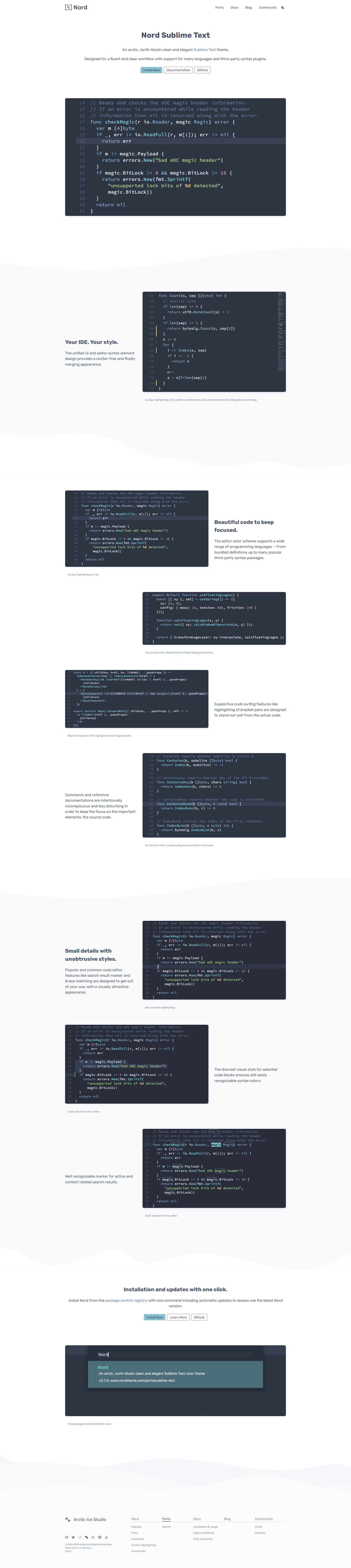 Preview: Nord Sublime Text Port Project Landing Page