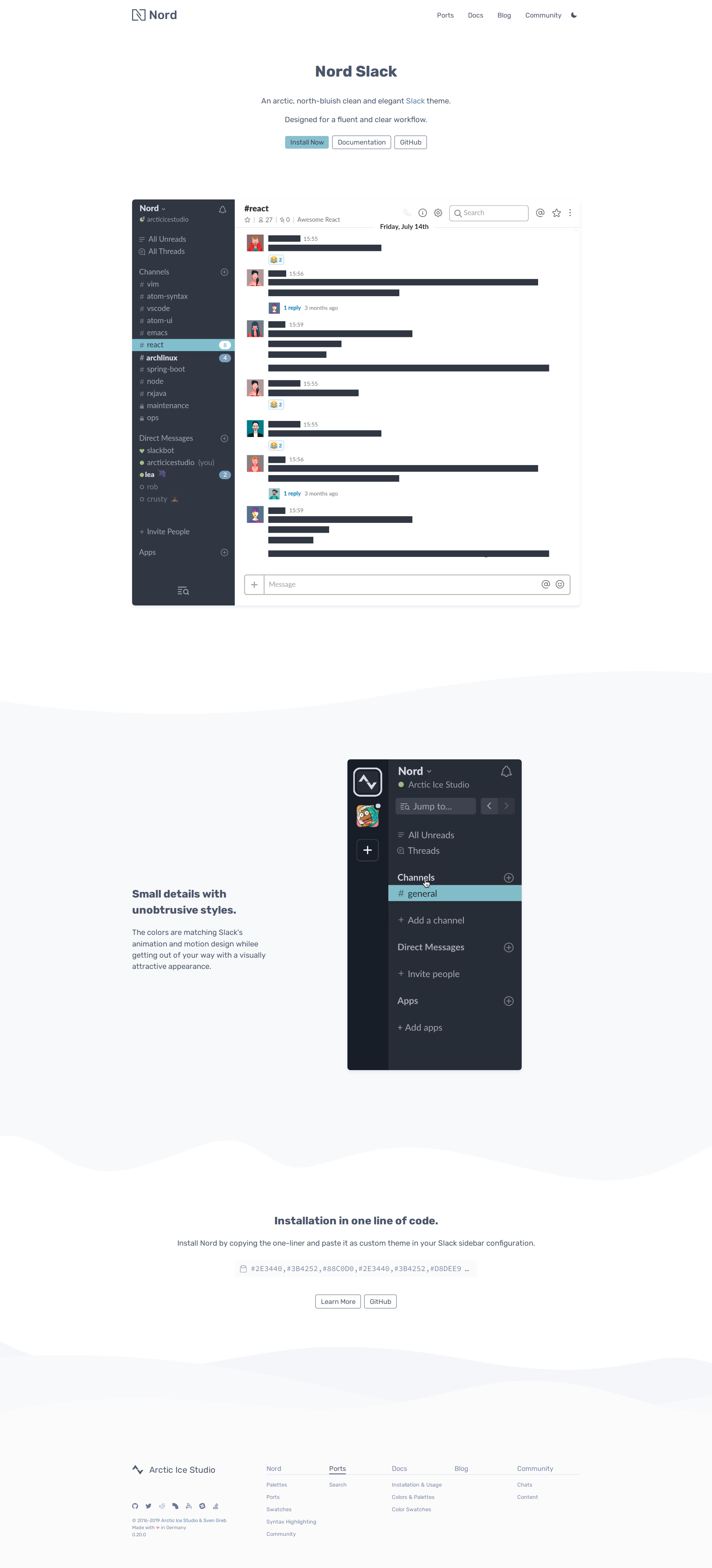 Preview: Nord Slack Port Project Landing Page