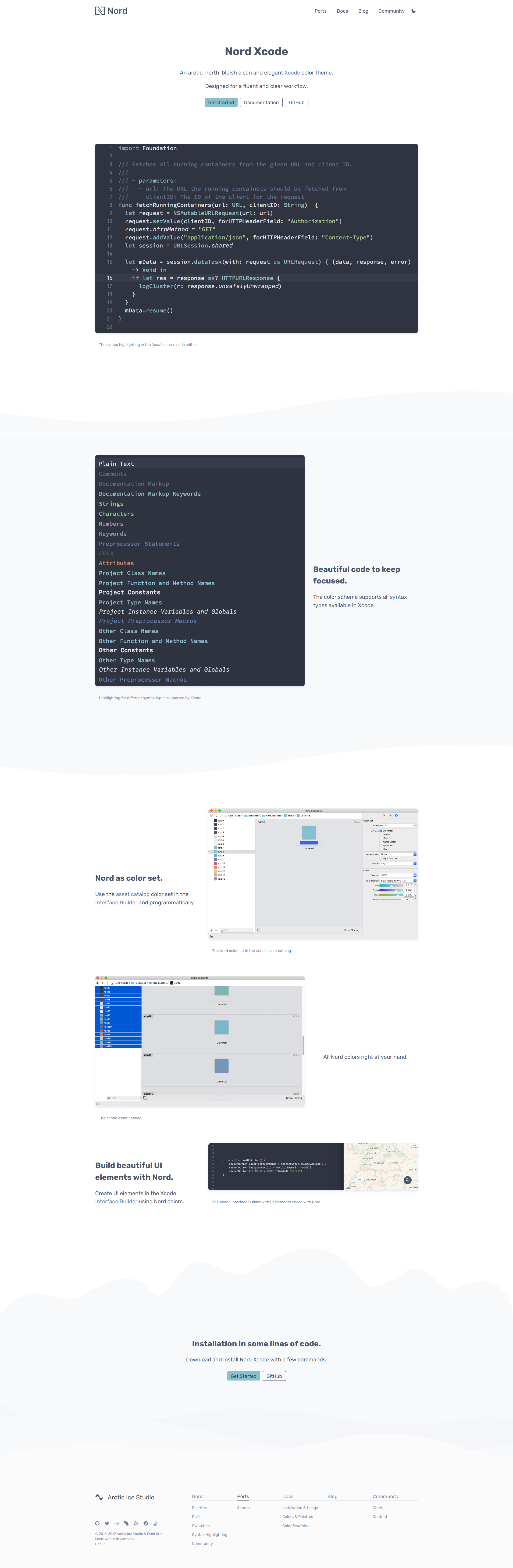 Preview: Nord Xcode Port Project Landing Page