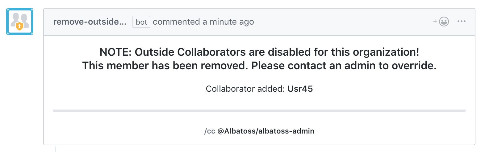 Screenshot of Remove Outside Collaborators app