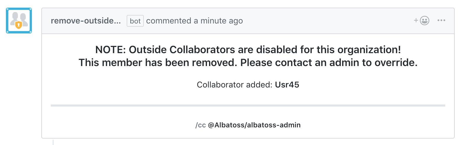 Screenshot of Remove Outside Collaborators app