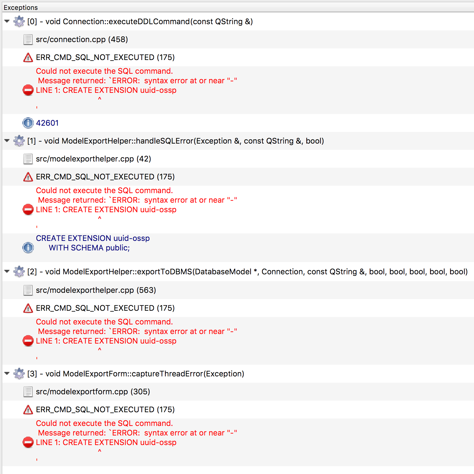 Ammco bus : Sql error 42601 error syntax error at or near perform