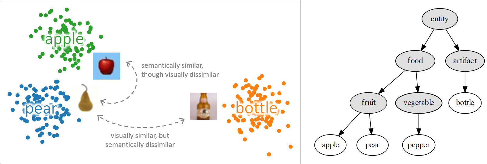 Illustration of semantic embeddings: not visually similar classes are close together but semantically similar ones. Similarities between classes are derived from a given taxonomy.