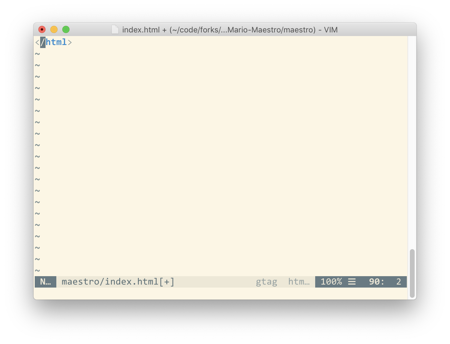 example of scroll bar in MacVim - bottom of scrollable view
