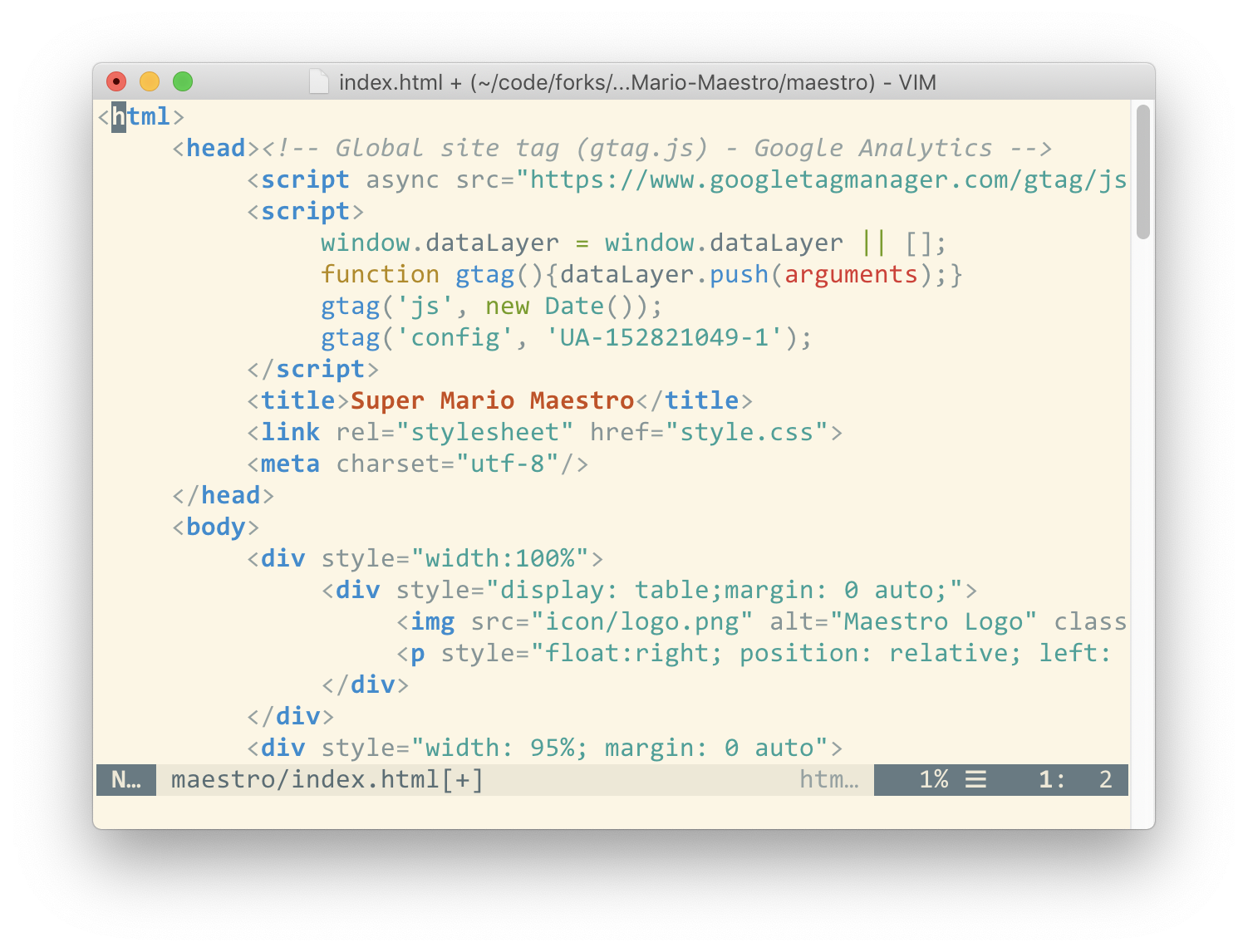 example of scroll bar in MacVim - top of scrollable view
