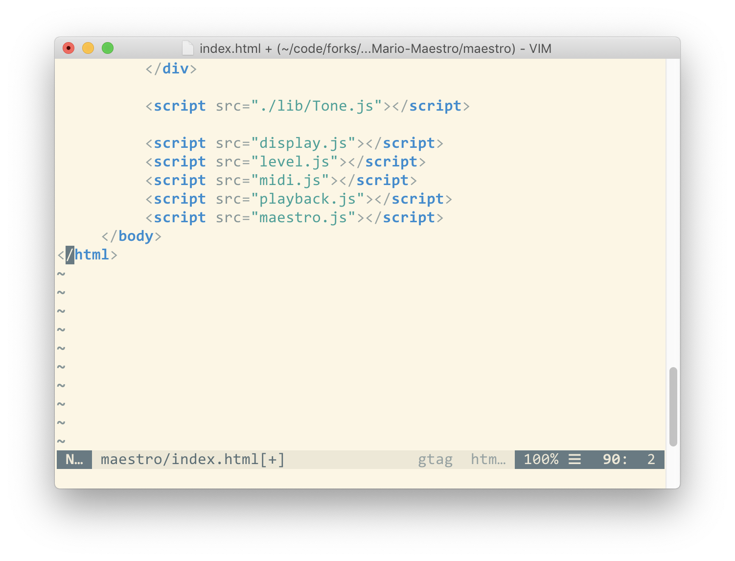 example of scroll bar in MacVim - near bottom of scrollable view