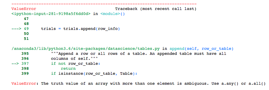 Ambiguous truth value in  append() · Issue #307 · data-8