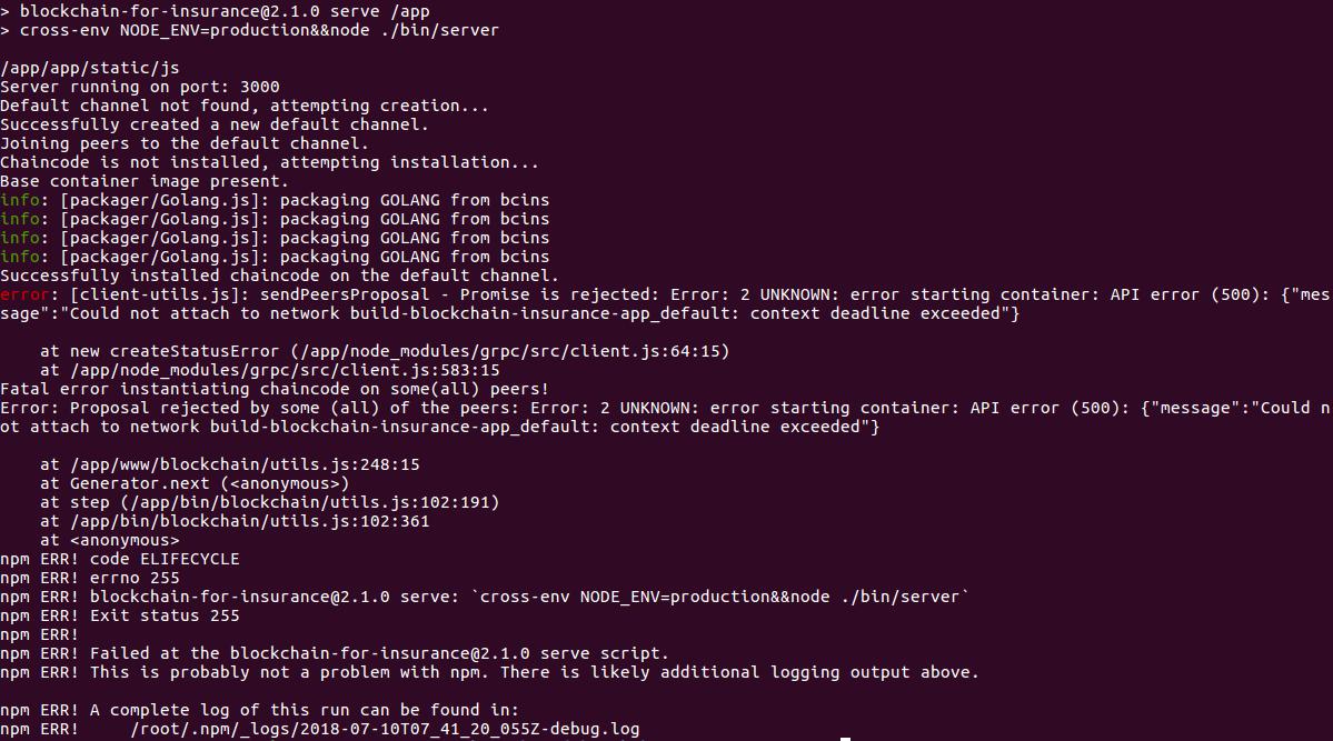 Error: 2 UNKNOWN: error starting container: context deadline