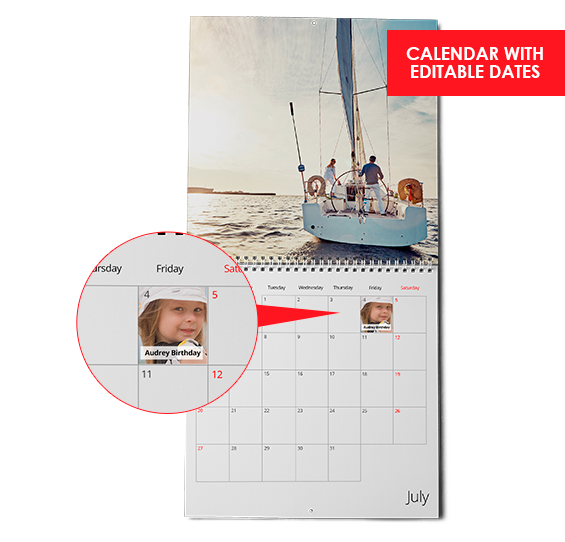 a two-page wall calendar with a spiral binding in the middle, photo on top, grid below