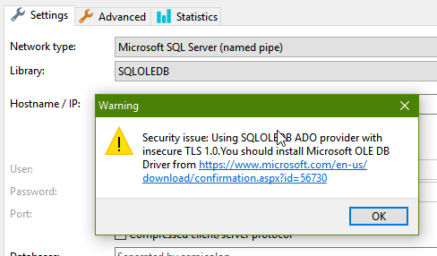 HeidiSQL doesn't support/advertise TLS 1 1 / 1 2 with MS SQL