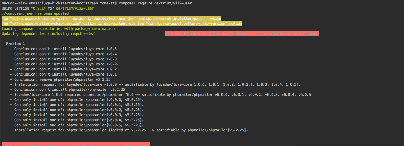 Can't use yii2 user inferface extensions · Issue #6 · luyadev/luya