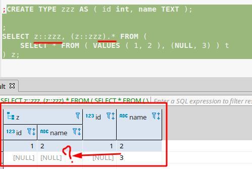 DBeaver display `NULL` instead of data for fields of custom