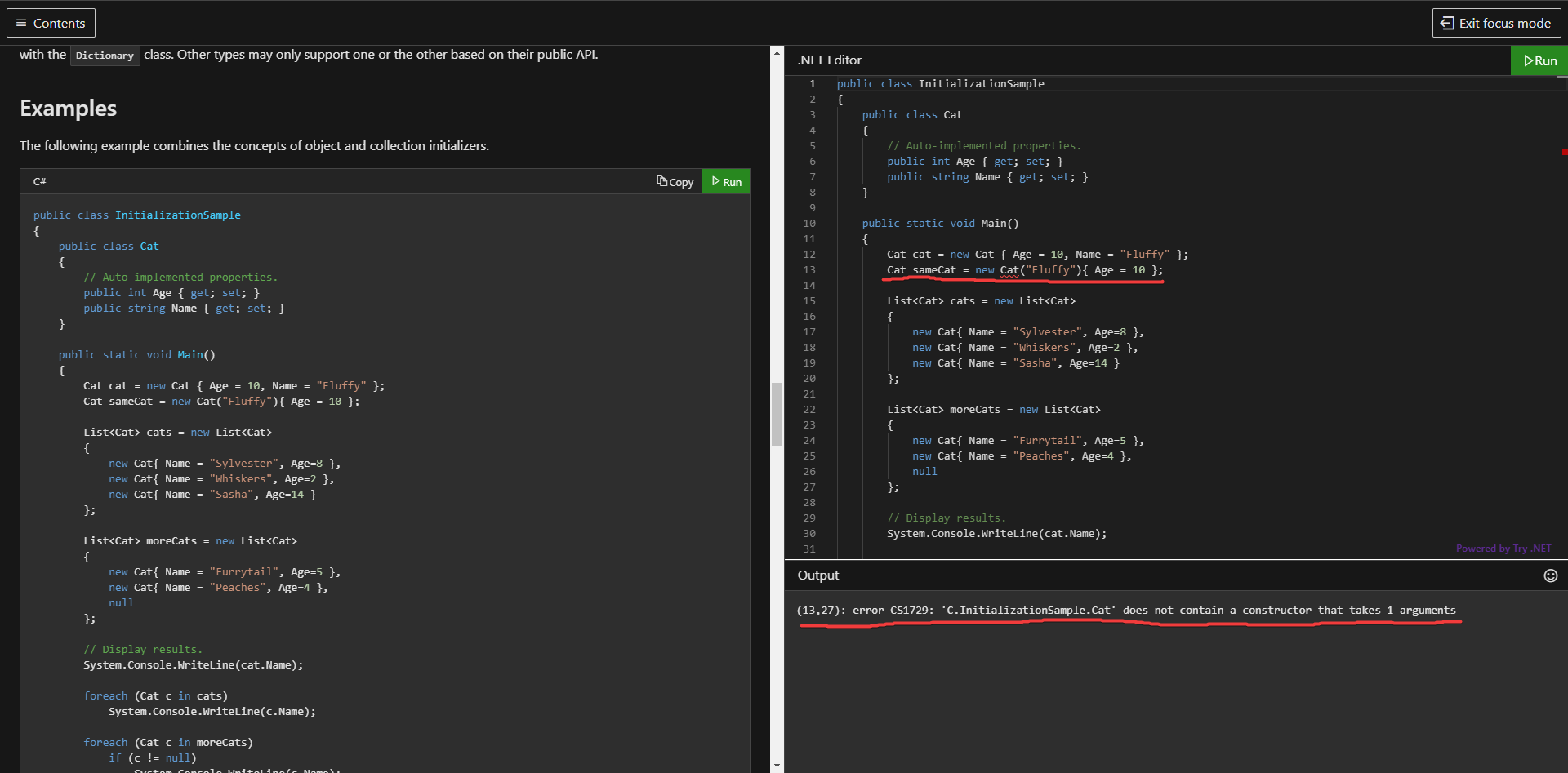 Running the InitializationSample code snippet on the