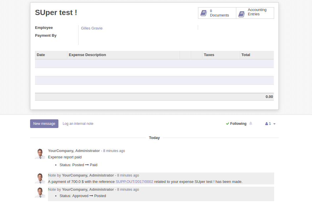 Odoo v10 0] Security too permissive on expenses and report · Issue