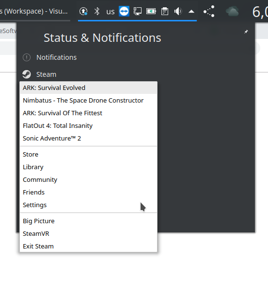 Steam tray menu not using gtk theme · Issue #4428