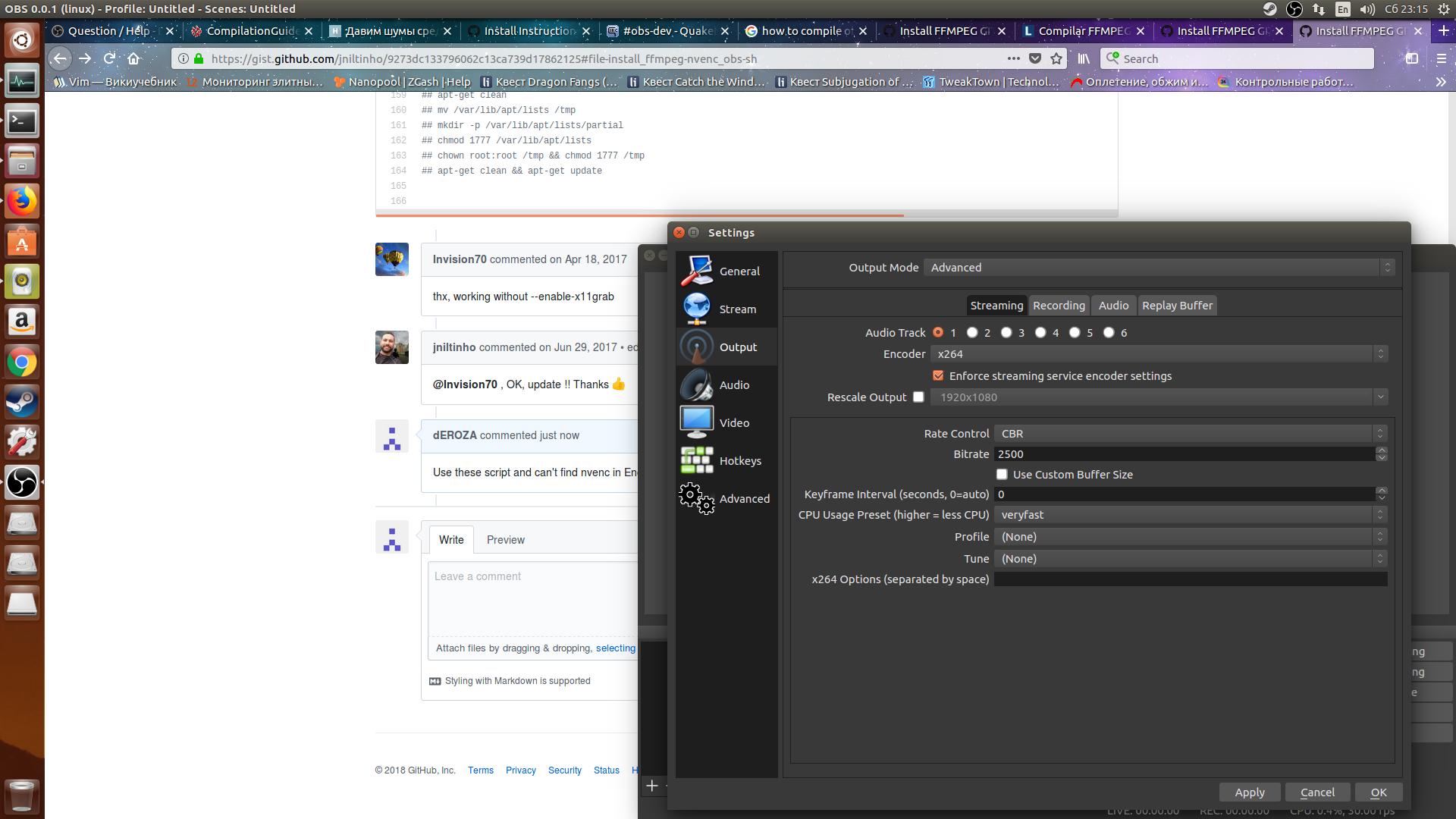 Install FFMPEG GIT + NVENC SDK 8 + OBS GIT · GitHub