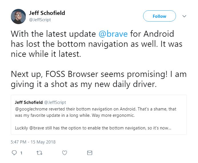 setting to put URL bar, shields, overflow menu, etc on