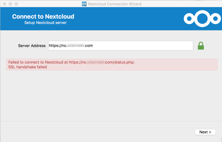 NextCloud client unable to connect to server · Issue #4