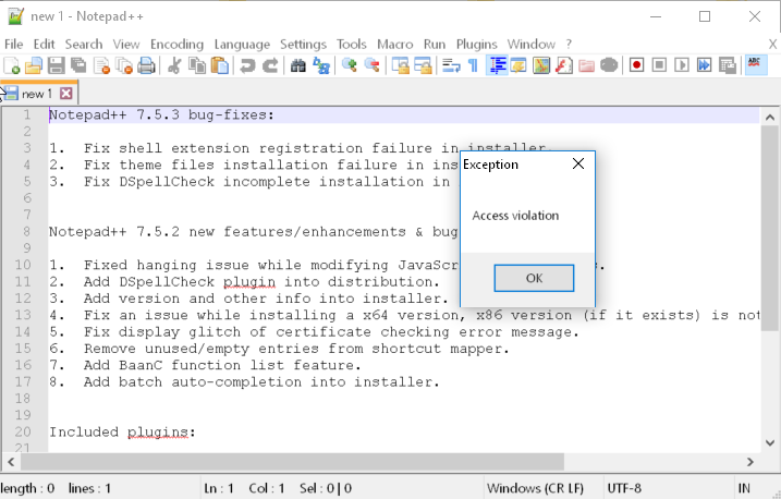Access violation when closing notepad++ with a file open