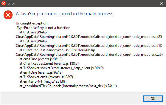 JavaScript error when starting Discord with BetterDiscord installed