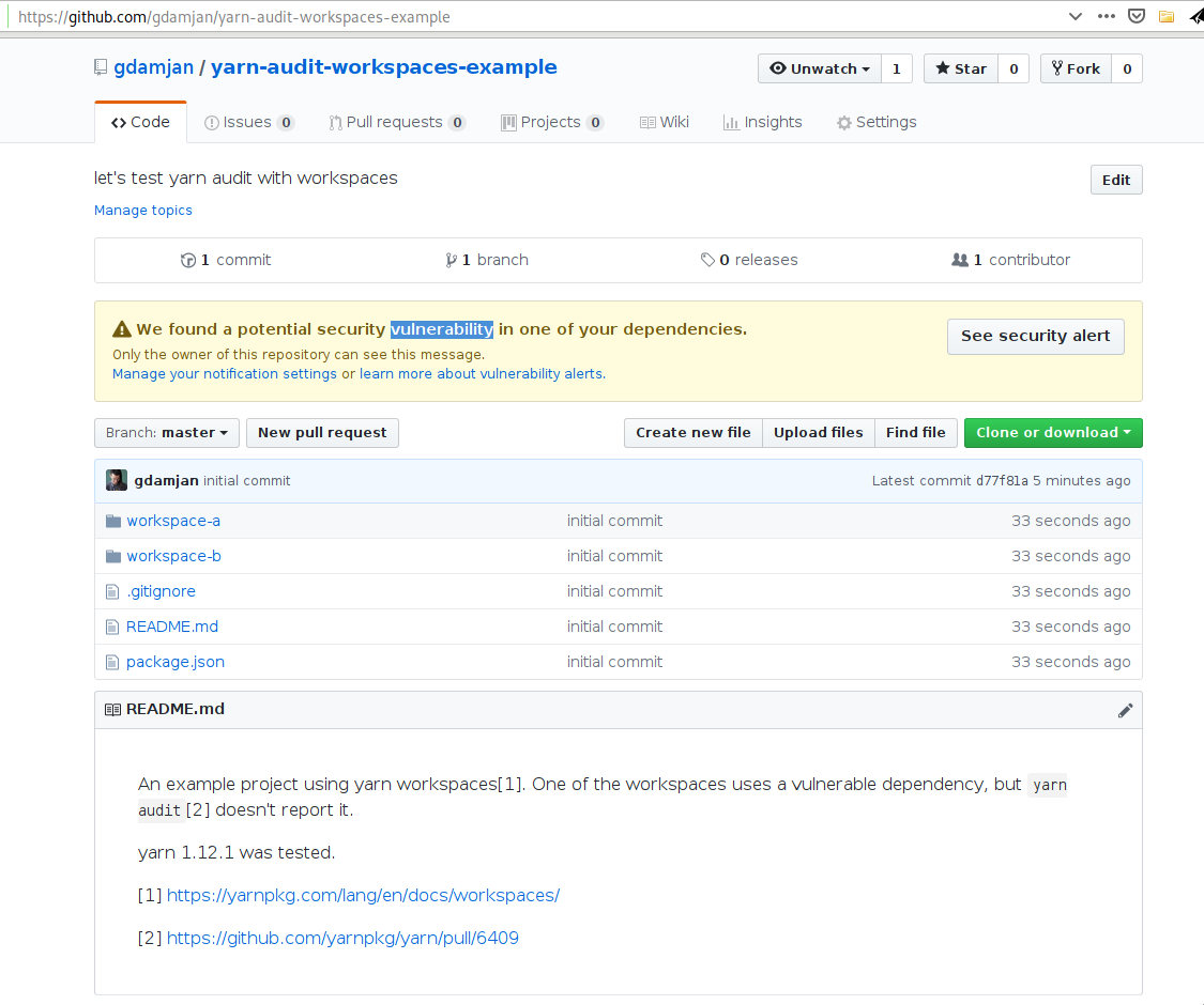 yarn audit doesn't report vulnerable dependencies in a yarn