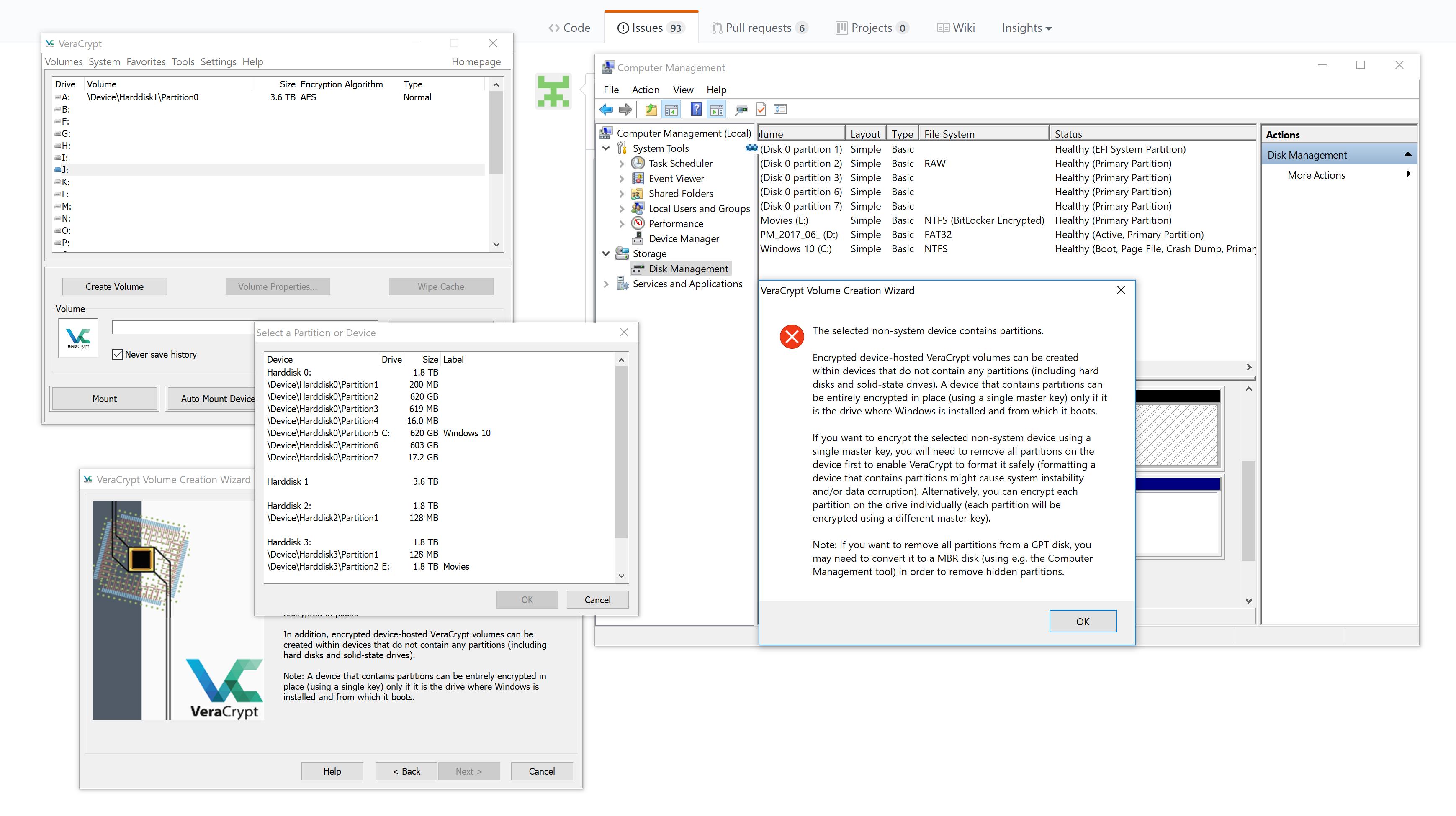 full disk encryption error