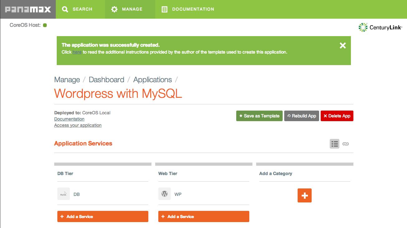 Application details screen in Panamax showing WordPress app