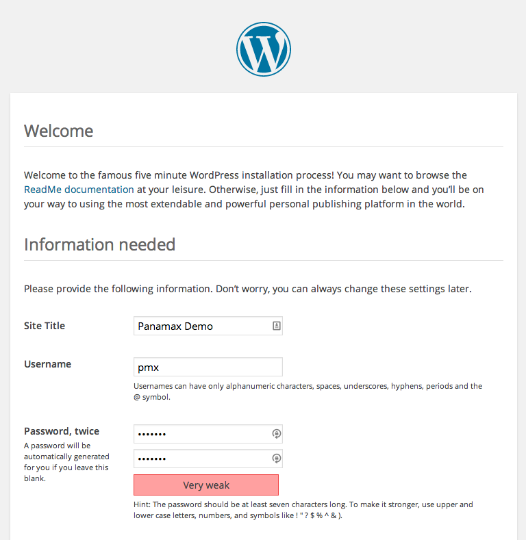 WordPress admin screen setup Here we can configure the required fields and get WordPress installed. We have a few themes and plugins installed by default, but we would like to add our own