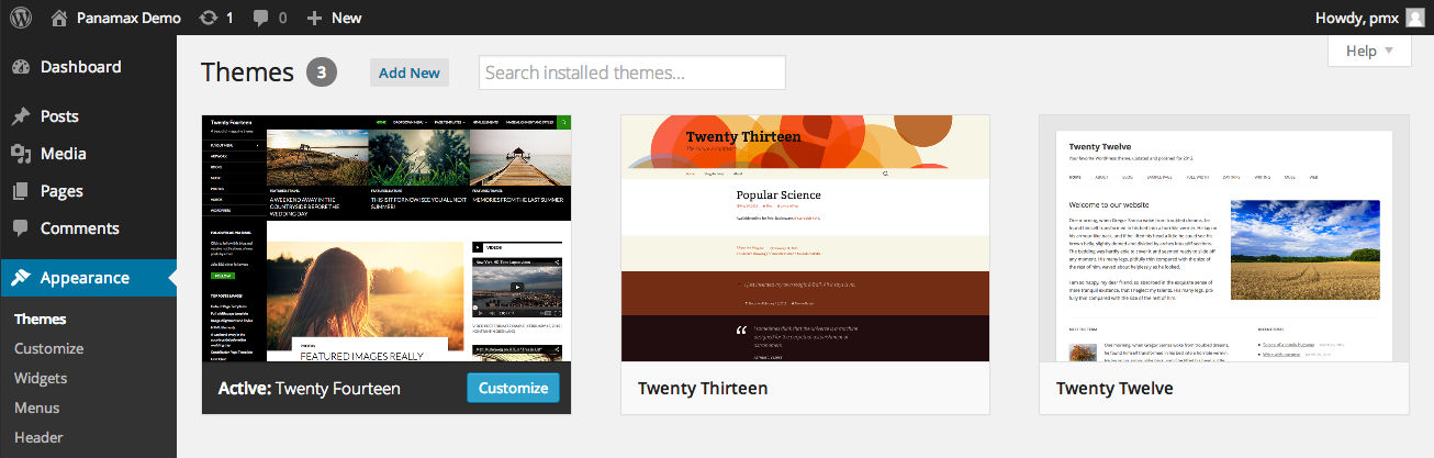 WordPress admin screen showing themes