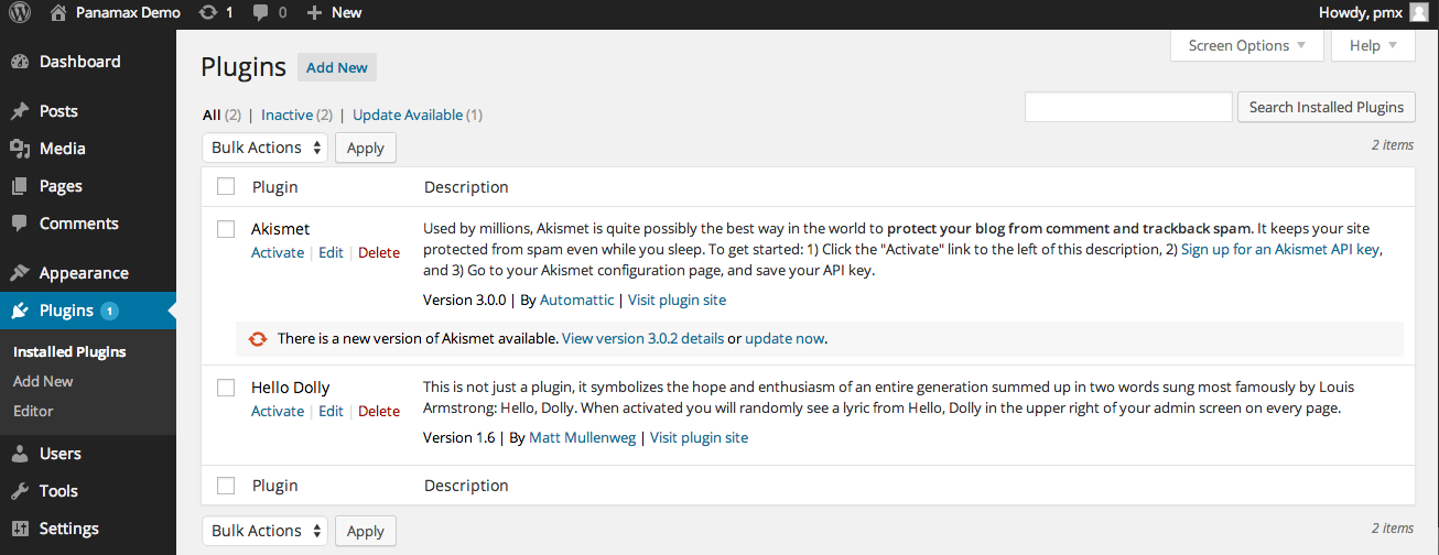 WordPress admin screen showing plugins