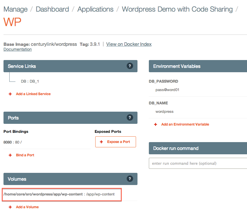 WordPress container details page with volume mount