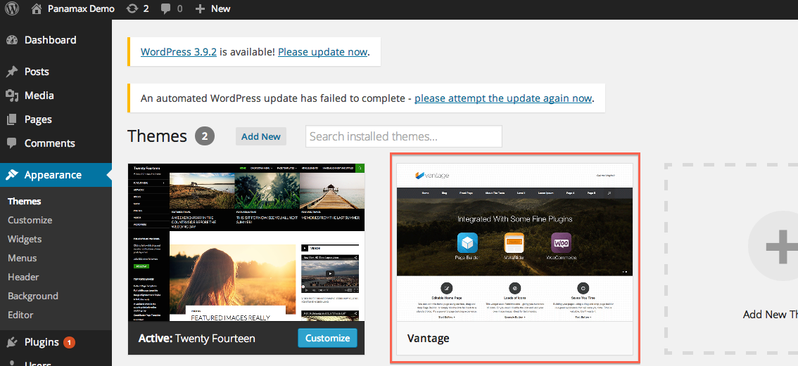 Theme showing up on WordPress app as you can see we have our new theme installed