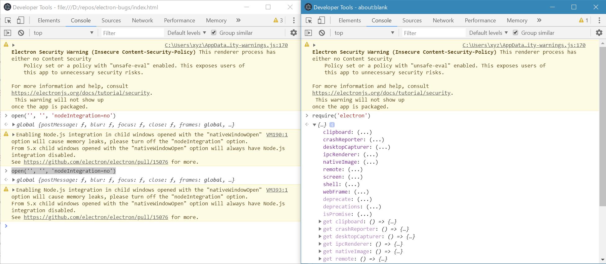 window open with nativeWindowOpen option always enables