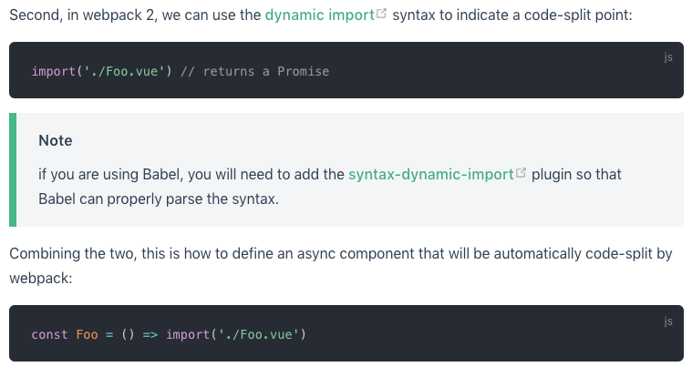 dynamic import() Syntax makes webpack throw an error · Issue
