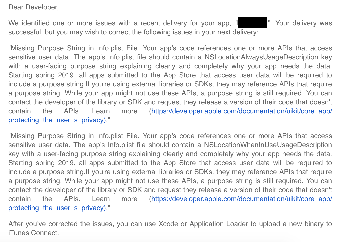 Apple requiring Location purpose strings in RN apps < 0 60