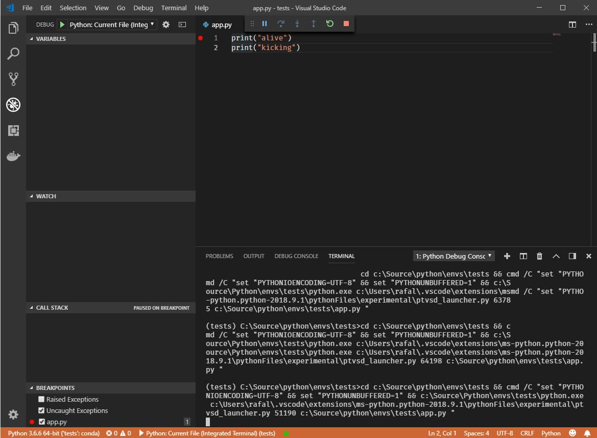 Debugger not working properly  · Issue #1006 · microsoft/ptvsd · GitHub