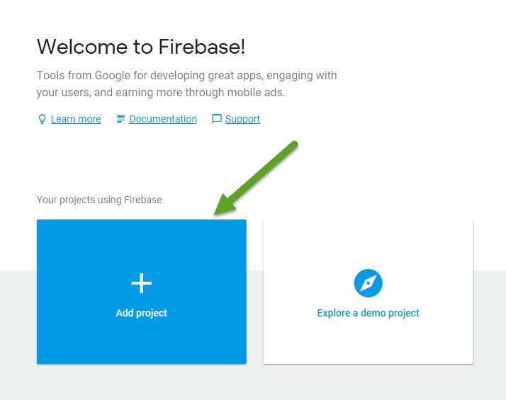 firebase new project