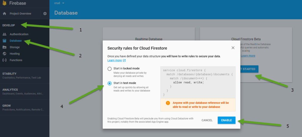 configure firestore database