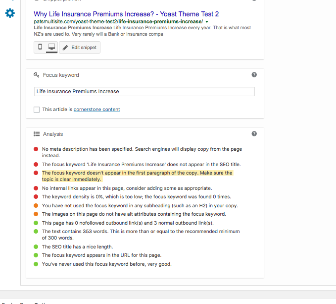 """Avada and Fusion Core Text modules result in """"The focus keyword doesn"""