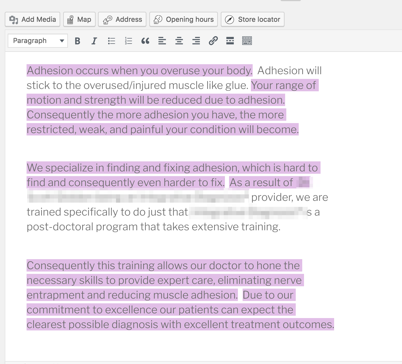 add in some links and see yoast fail to highlight transition words