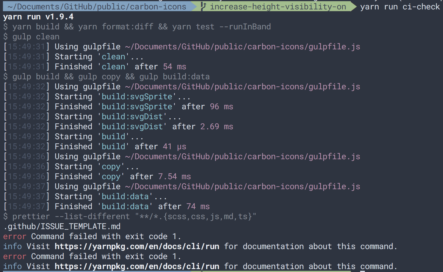 Github issue template breaking ci check issue 85 ibmcarbon image maxwellsz