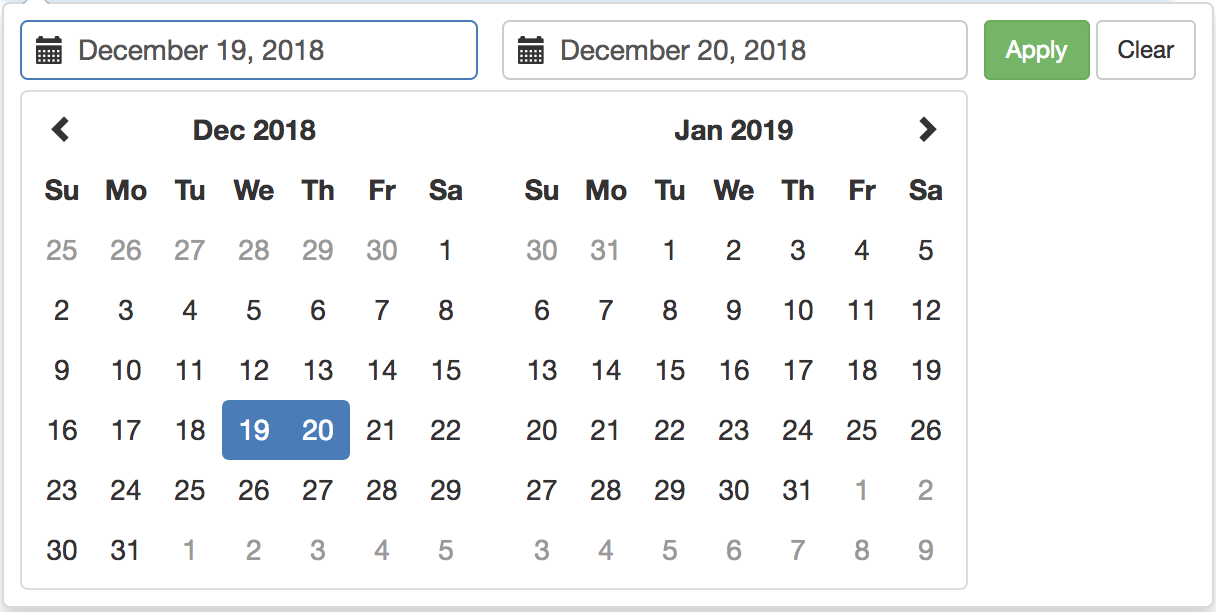 Angular Material Date Picker to show 2 months dates instead