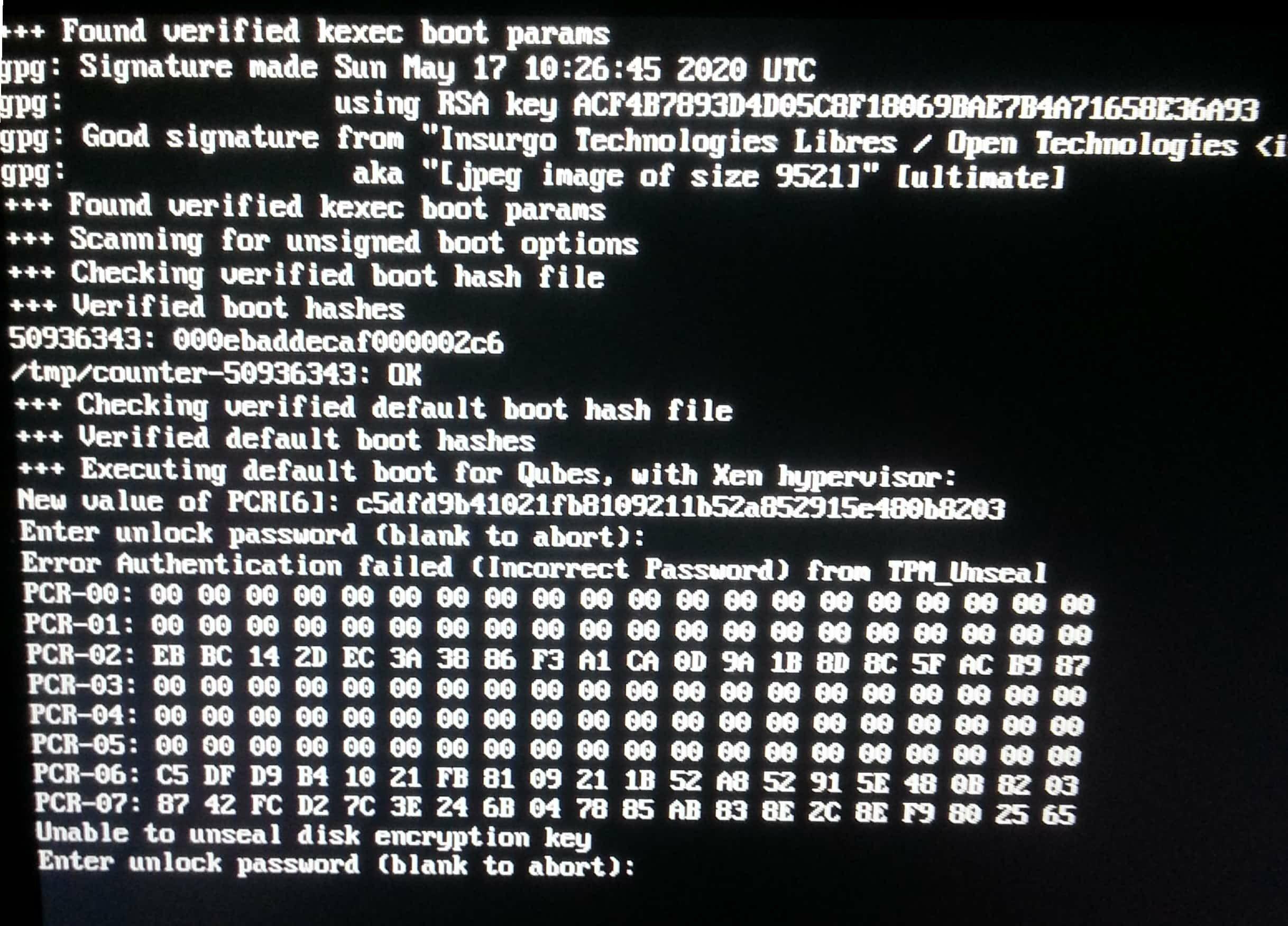 Disk Unlock Key passphrase showed PCRs when passphrase fails