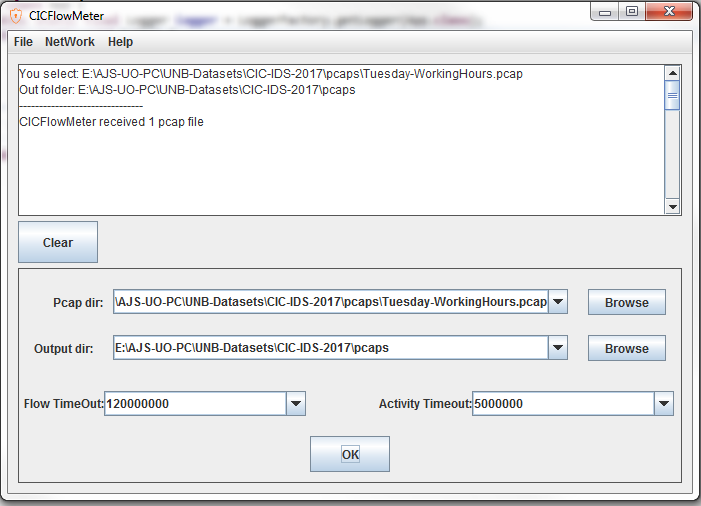 CICFlowMeter not generating the outputs · Issue #10 · ISCX