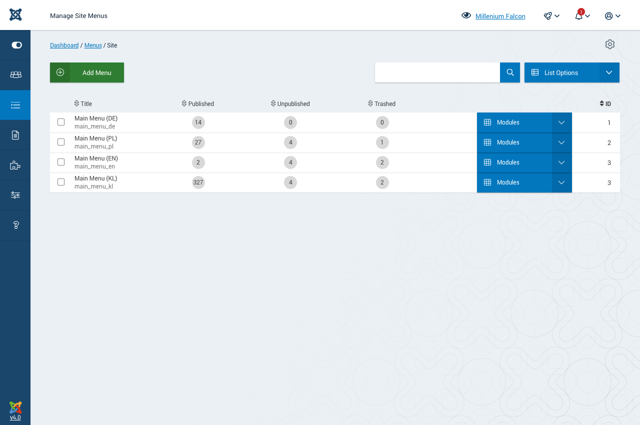 Joomla 40 Backend Template Manage Site Or Admin Menus Issue