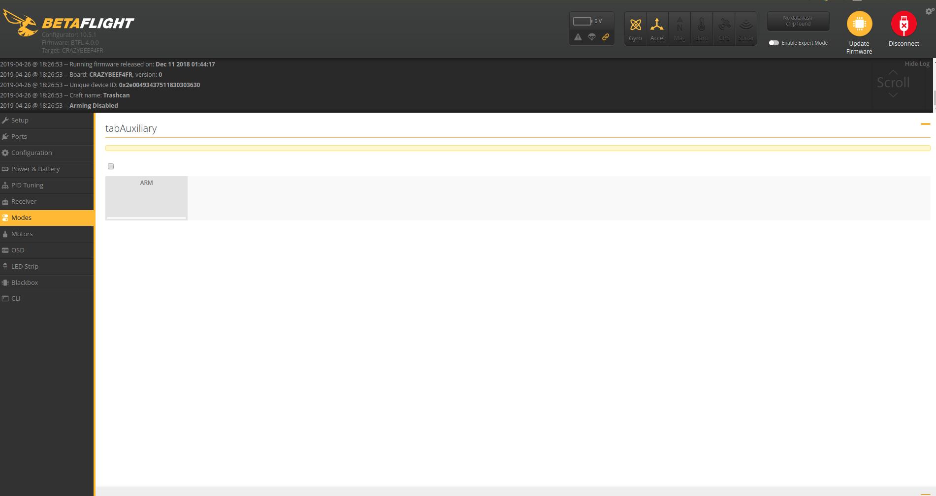 Mode page is broken · Issue #1405 · betaflight/betaflight