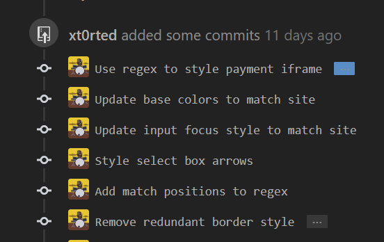 Expand commit message button has wrong text color on hover