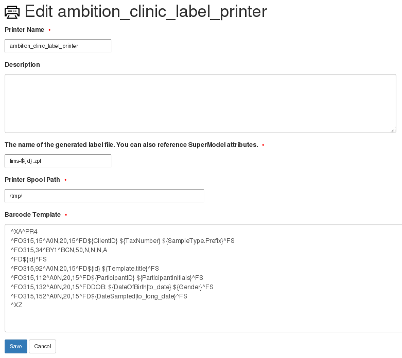 Requested test not in sample template should appear on barcode label
