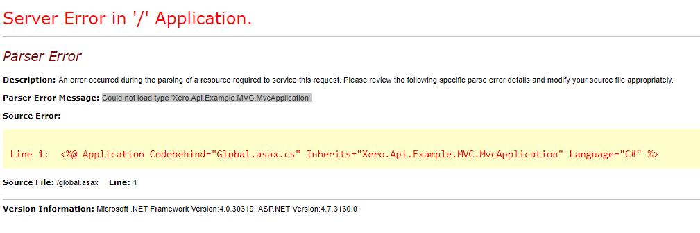 Receive Error when Try to Run MVC App · Issue #363 · XeroAPI