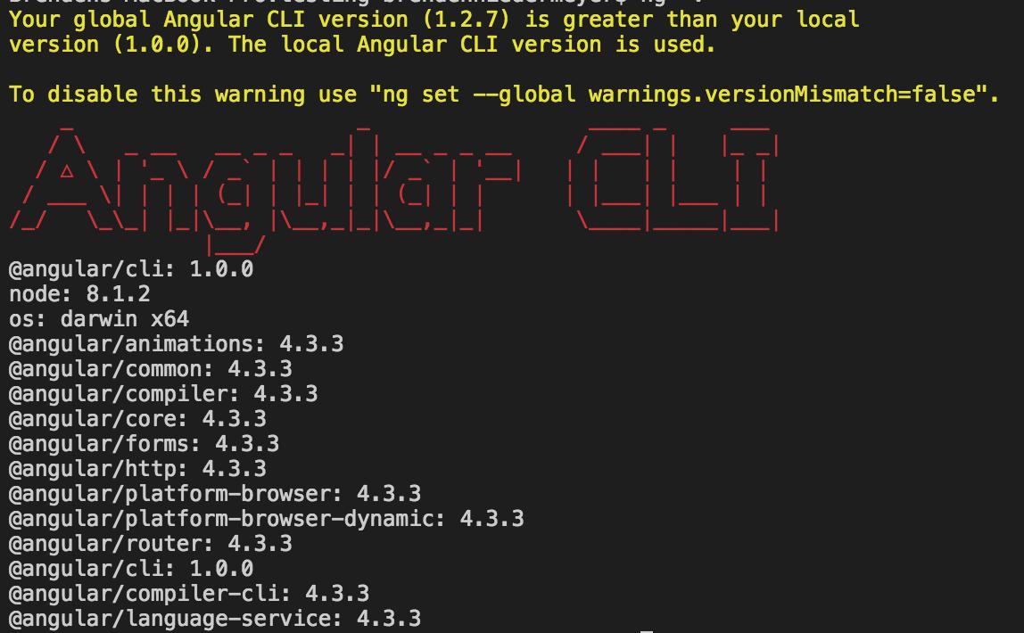 angular cli versions